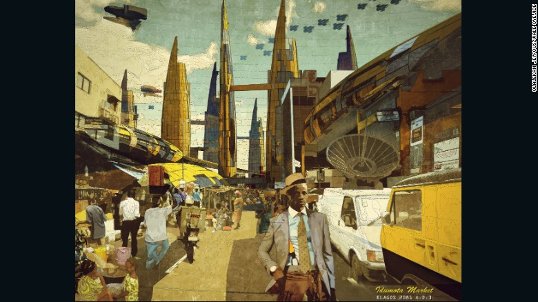 Afrofuturist Ikire Jones imagines the changes ahead for the continent. or the city to cope with future population growth.(Photo/CNN)