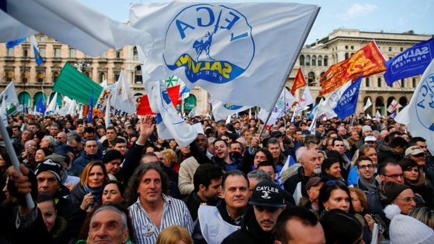 Supporters of Italy's The League party attend a political rally led by leader Matteo Salvini in Milan, Italy, February 24, 2018. (Reuters)